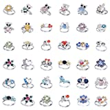 Cren 20pcs Children Kids Girls Crystal Adjustable Rings With Cute Animals