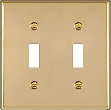 Enerlites Toggle Light Switch Metal Wall Plate Stainless Steel Corrosion Resistant Size 2 Gang 4 50 X 4 57 Ul Listed 7712 Pb 302 Polished Brass Gold Amazon Com