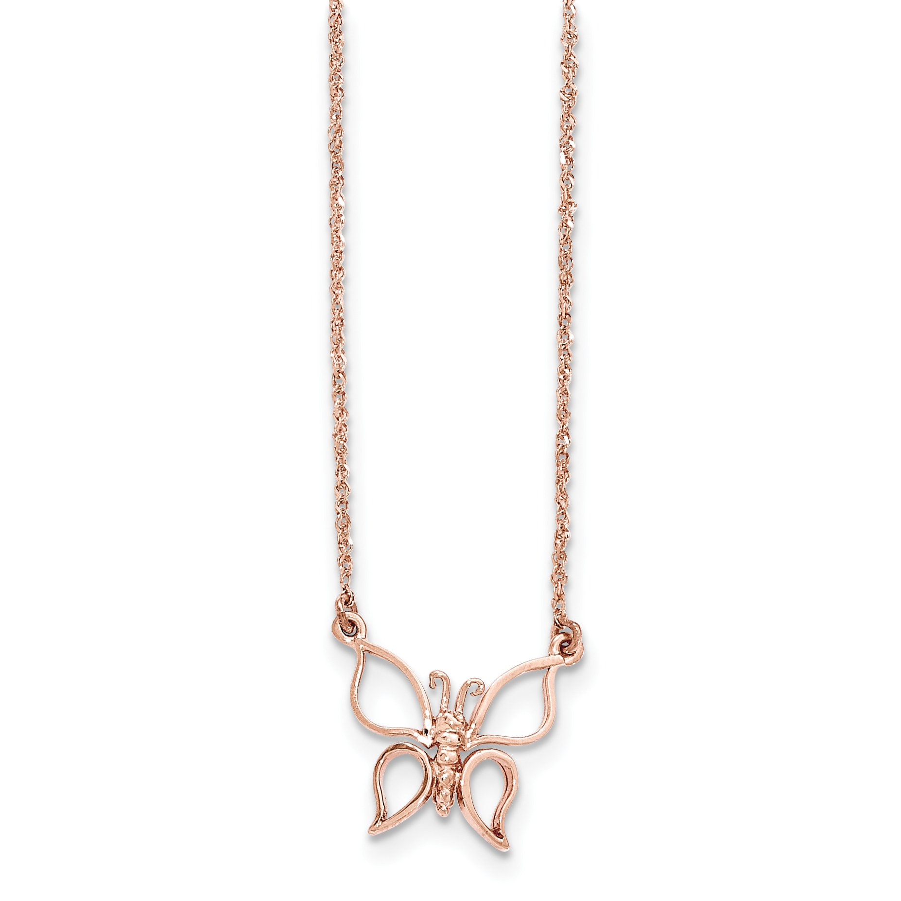 ICE CARATS 14k Rose Gold Butterfly Chain Necklace Animals/insect Fine Jewelry Gift Set For Women Heart