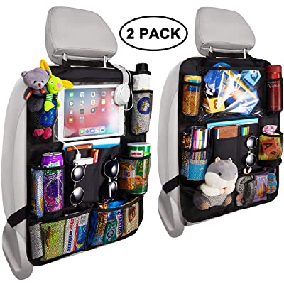 Reserwa Backseat Car Organizer Kick Mats back seat storage bag with Clear Screen Tablet Holder and 9 Storage Pockets,Seat Back Protectors with USB/Headphone Slits for Toys Drinks Book Kids Toddler Tra: Automotive