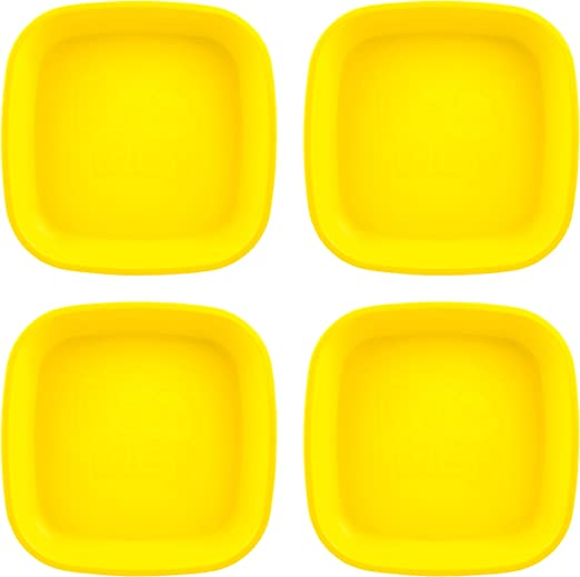 Yellow Kelly Green and Navy Made from Eco Freindly Heavyweight RECYCLED MILK JUGS BPA FREE | Dishwasher Safe Primary+ RE-PLAY Made in USA 4pk of DEEP 7.375 Plates in Red