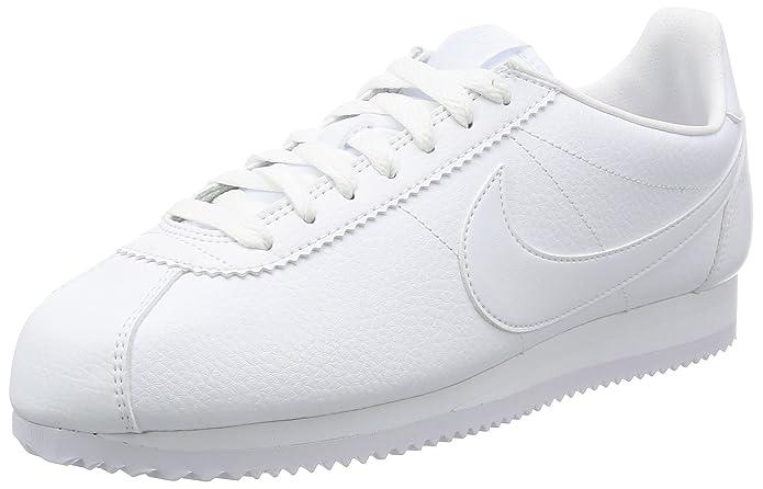Nike Classic Cortez Leather, Scarpe da Ginnastica Basse Uomo, Bianco (White/White-White 111), 45 EU
