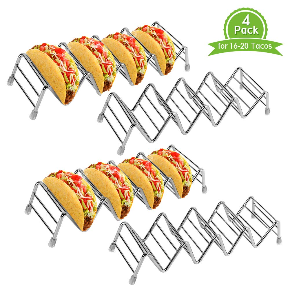 4 Pack Taco Holder Space for 16 to 20 Tacos, Ejoyous Stainless Steel Taco Stand Rack Holds Up to 4-5 Tacos Each,Ideal Taco Stand Tray for Soft Hard Shell with Silicone Protective Tips