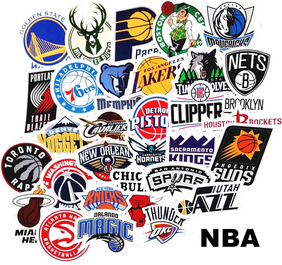 NBA Logo Sticker Pack of 30 Stickers NBA Basketball Team Logo Stickers for Laptops Hydro Flasks Water Bottles Luggage