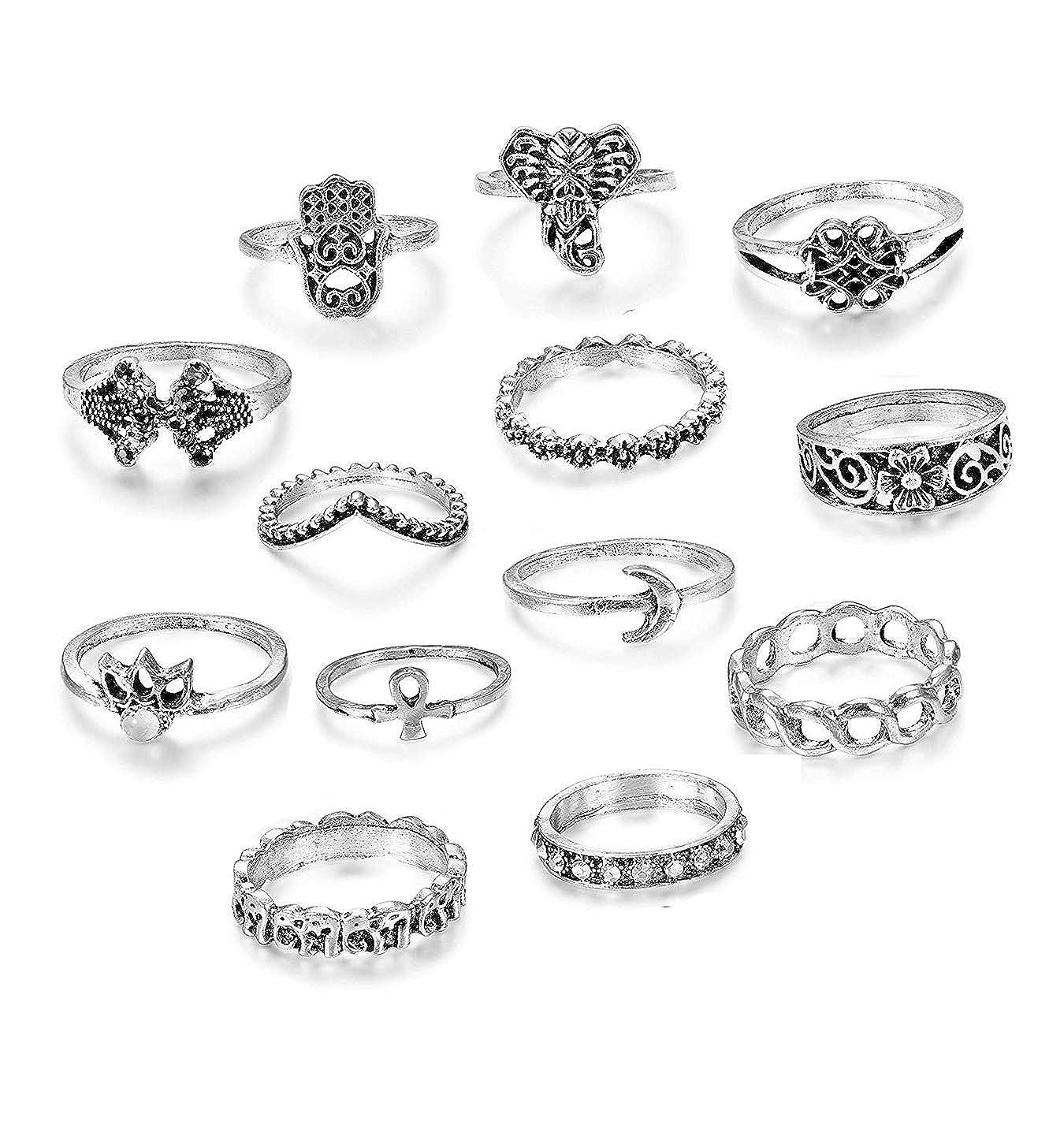 3711add33ea4 Besteel Aleación Anillos de uñas de nudillo para Mujeres niñas Boho Bohemio  Anillo apilable Conjunto de