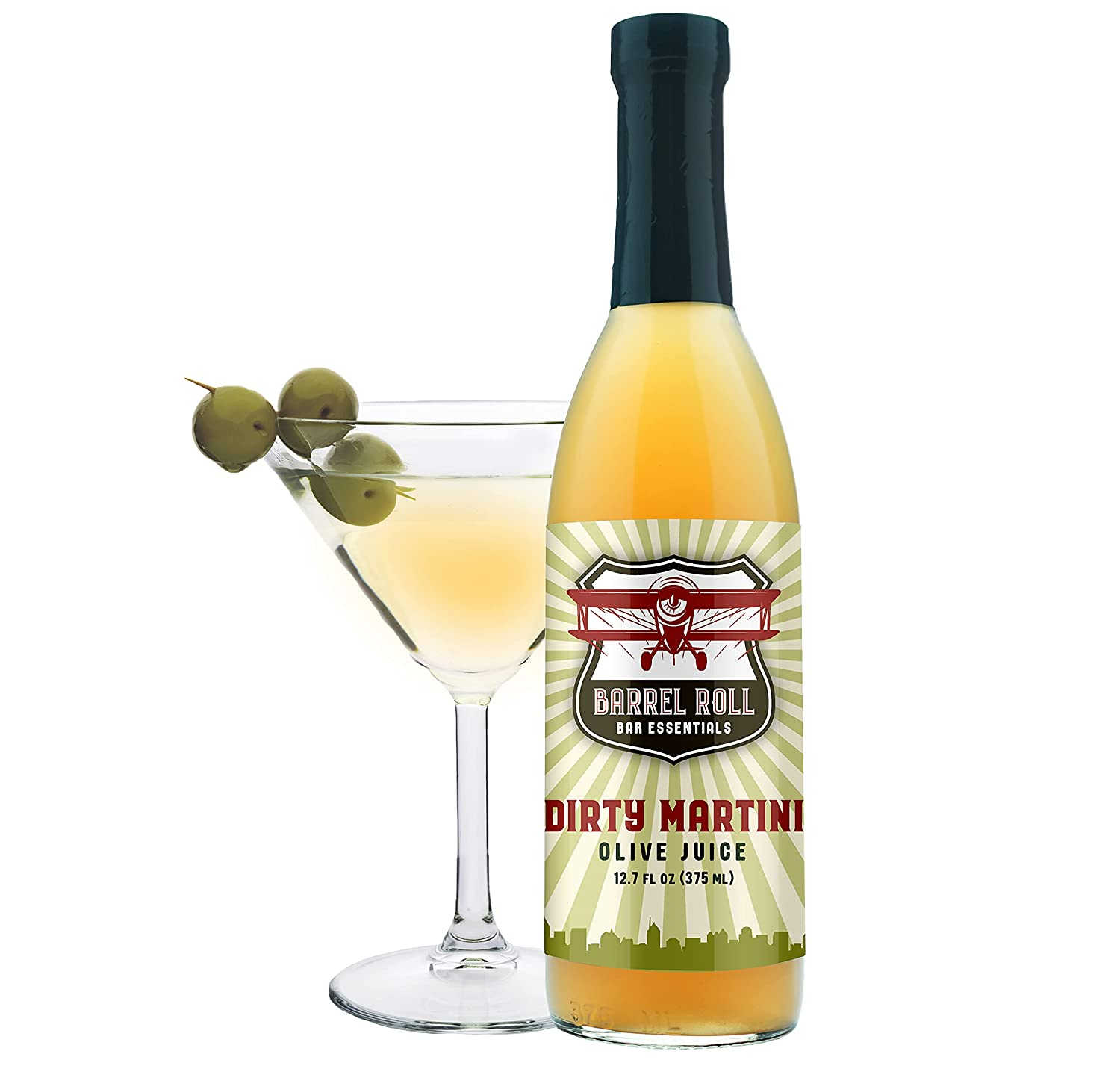 Barrel Roll Bar Essentials Cocktail Mixers - Dirty Martini Mix - Olive Brine - Handcrafted in the USA - Small Batch Drink Mix - Olive Juice - 12.7 Ounce Martini Juice Bottle – Vodka Gin Vermouth Mixer