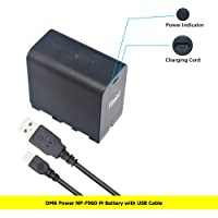 DMK Power USB DC Rechargeable NP-F960 Battery 6000mAh for Sony NP F970, F750, F770, F960, F550, F530, F330, F570 LED Video Light and Monitor only
