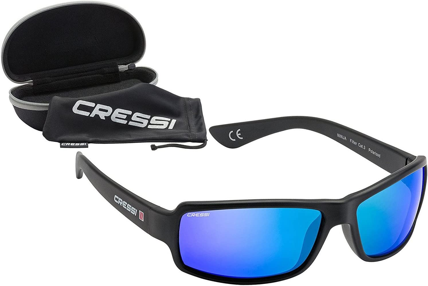 Cressi Ninja, Adult Sport Sunglasses, Polarized Lenses, Protective Case | Best for Boating, Sailing, Fishing, Running, Hiking, Cycling