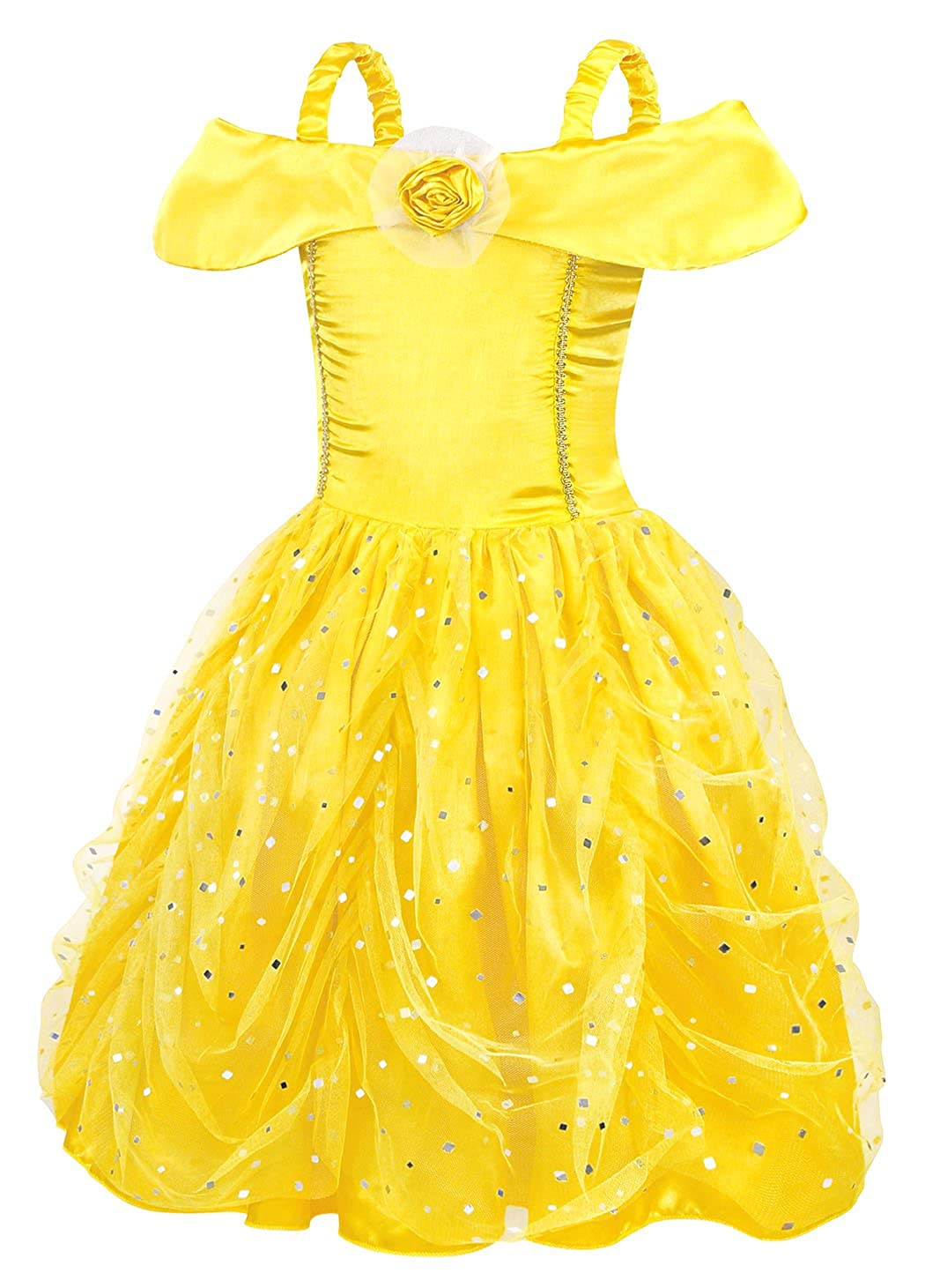 90e2bcfd4168 AmzBarley Belle Dress Costume Girls Princess Party Layered Birthday Kids  Clothes: Amazon.ca: Clothing & Accessories