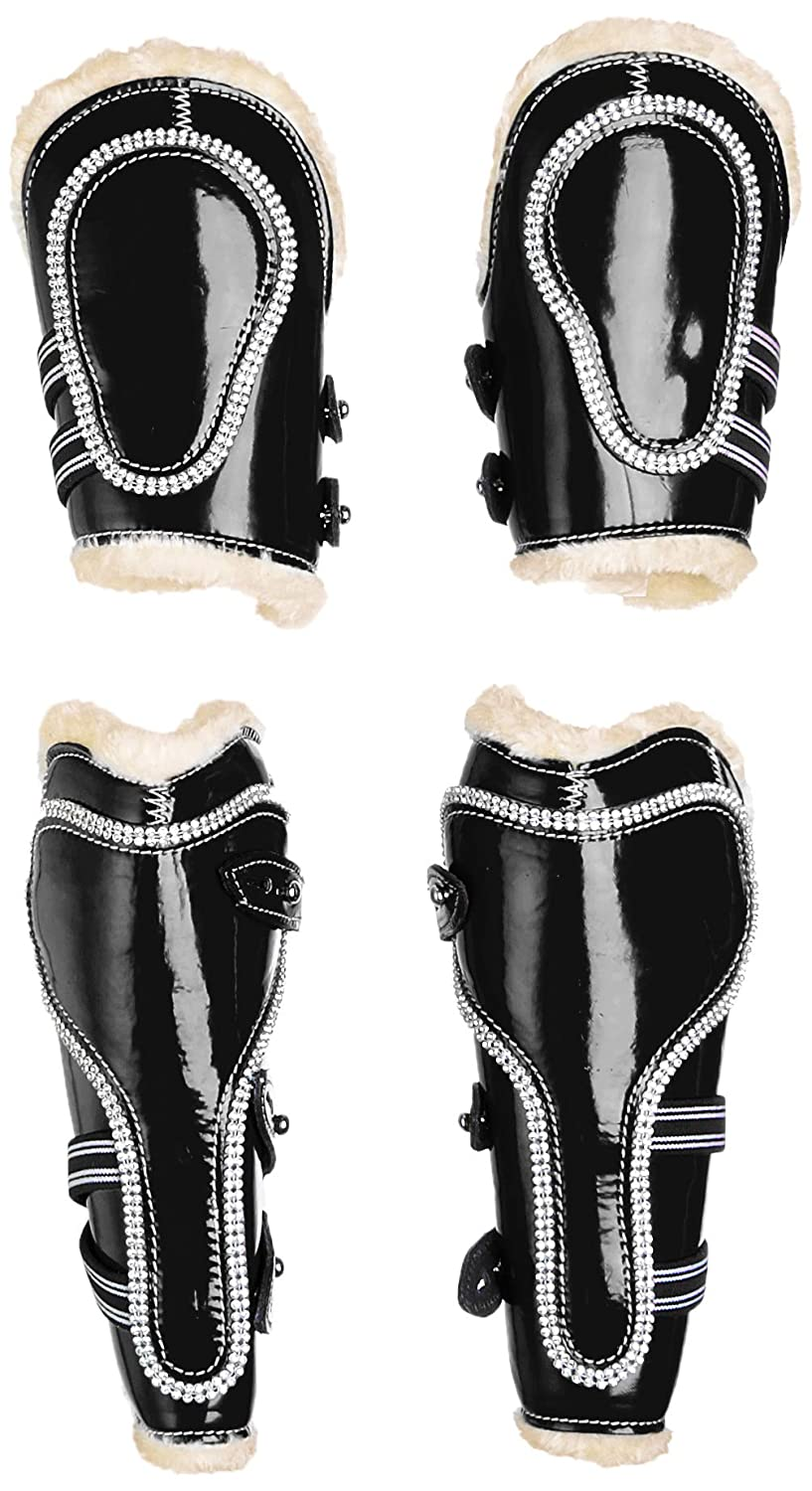 COB Cwell Equine New Bling Tendon & Fetlock Boots Sparkly Diamante on Patent Leather BLACK F C P (COB)
