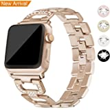 [Newest] For Apple Watch Strap 38mm & 42mm Band, Mornex Sparkling Iwatch Straps Bracelet Replacement Stainless Steel Metal Accessories for Apple Smart Watch Series 1, 2, 3