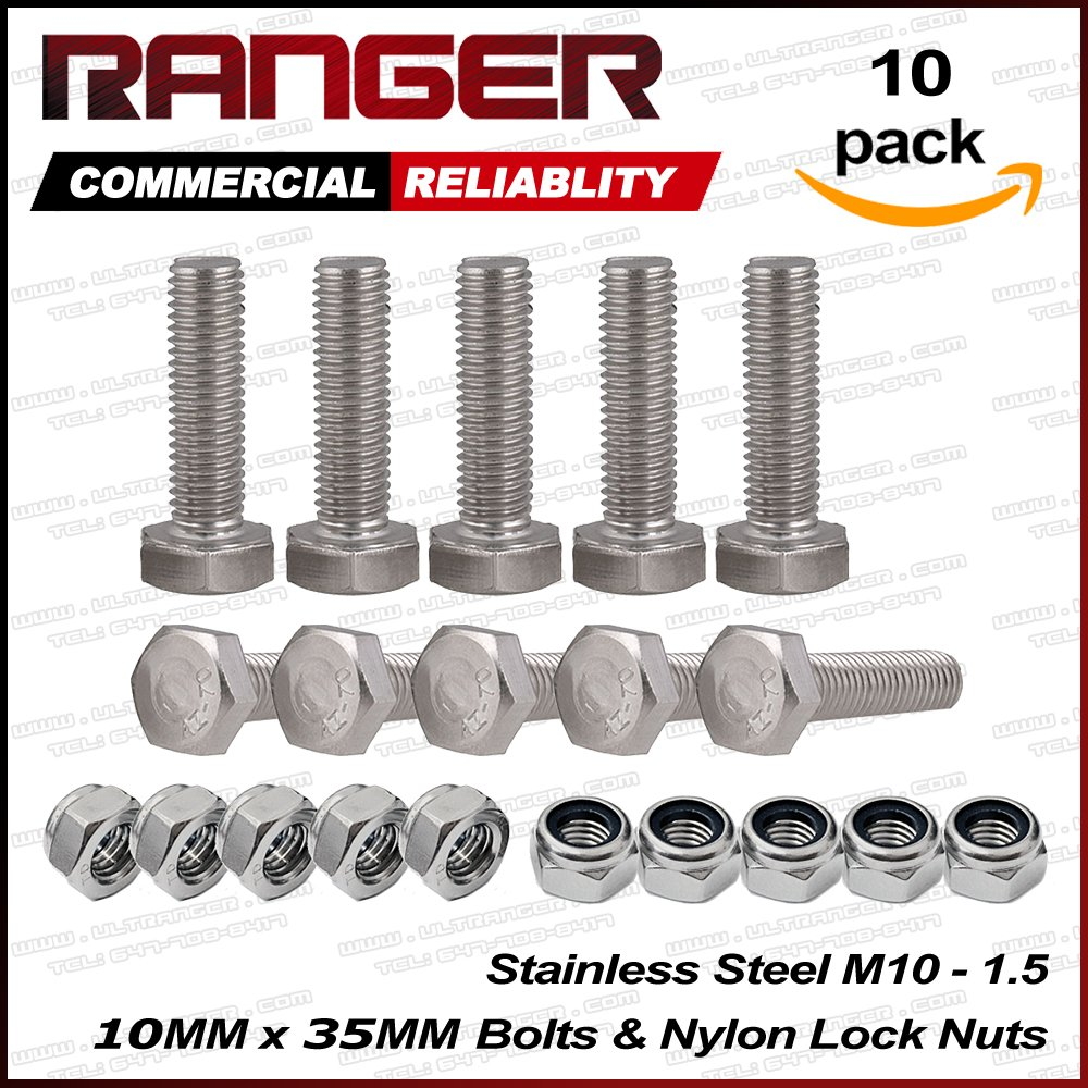 Ranger 10 Pcs M10 x 35mm 1.25 A2 Stainless Steel Fully Threaded Hex Head Screw Bolts with Nylon Lock Nuts Ultranger
