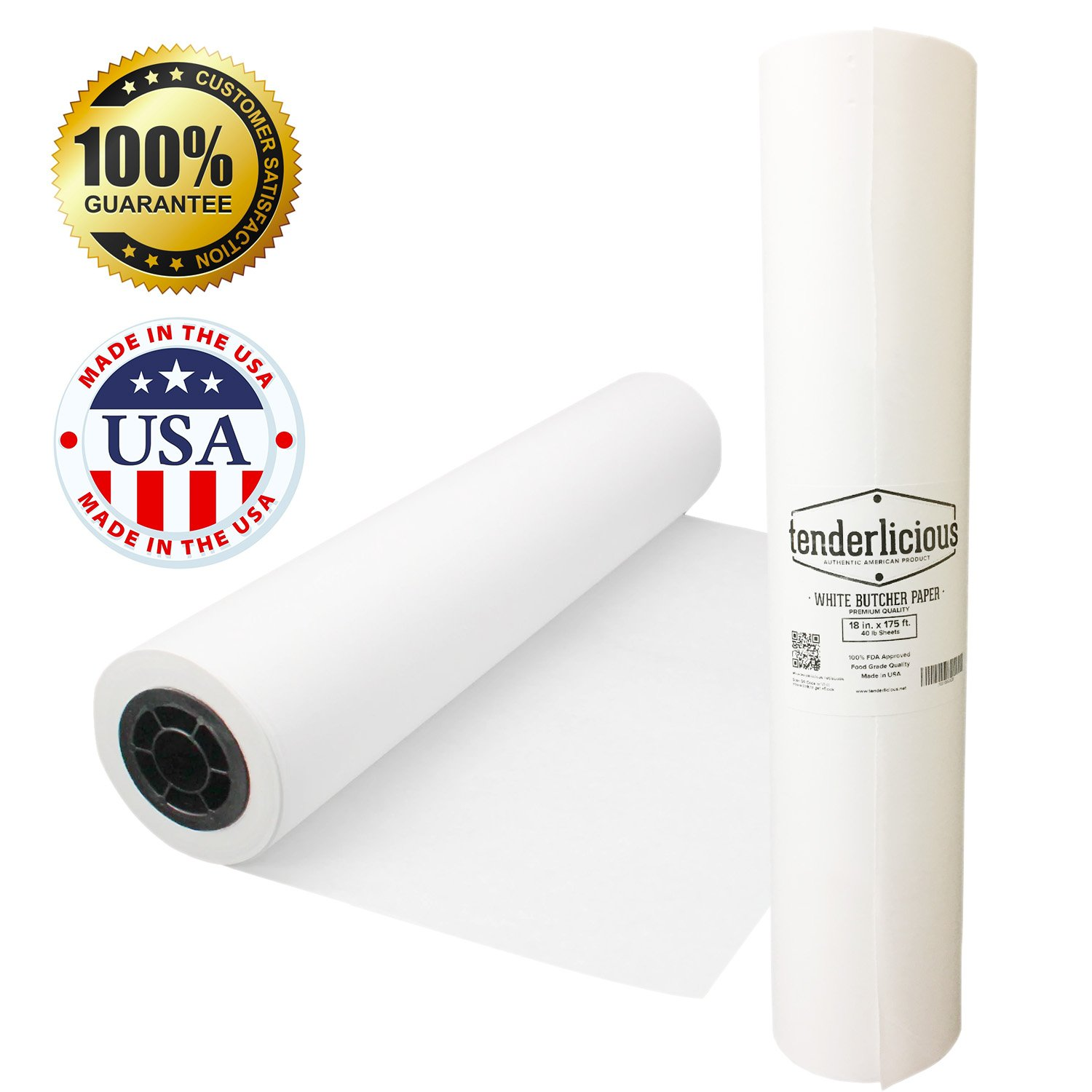 """White Kraft Butcher Paper Roll - 18 """" x 175 ' (2100 """") White Wrapping Paper - USA Made - All Natural FDA Approved Food Grade Paper - Unwaxed and Uncoated"""