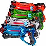 4 Light Battle Active laser tag toy guns. Color: Green, Orange, Blue and White - display box LBAP1041234D