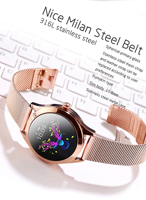 Amazon.com: SUNLMG KW10 Womens Fashion Smart Bracelet Screen Dynamic Dial/Waterproof/Heart Rate Test/Clock Display/Stopwatch/Suitable for ...