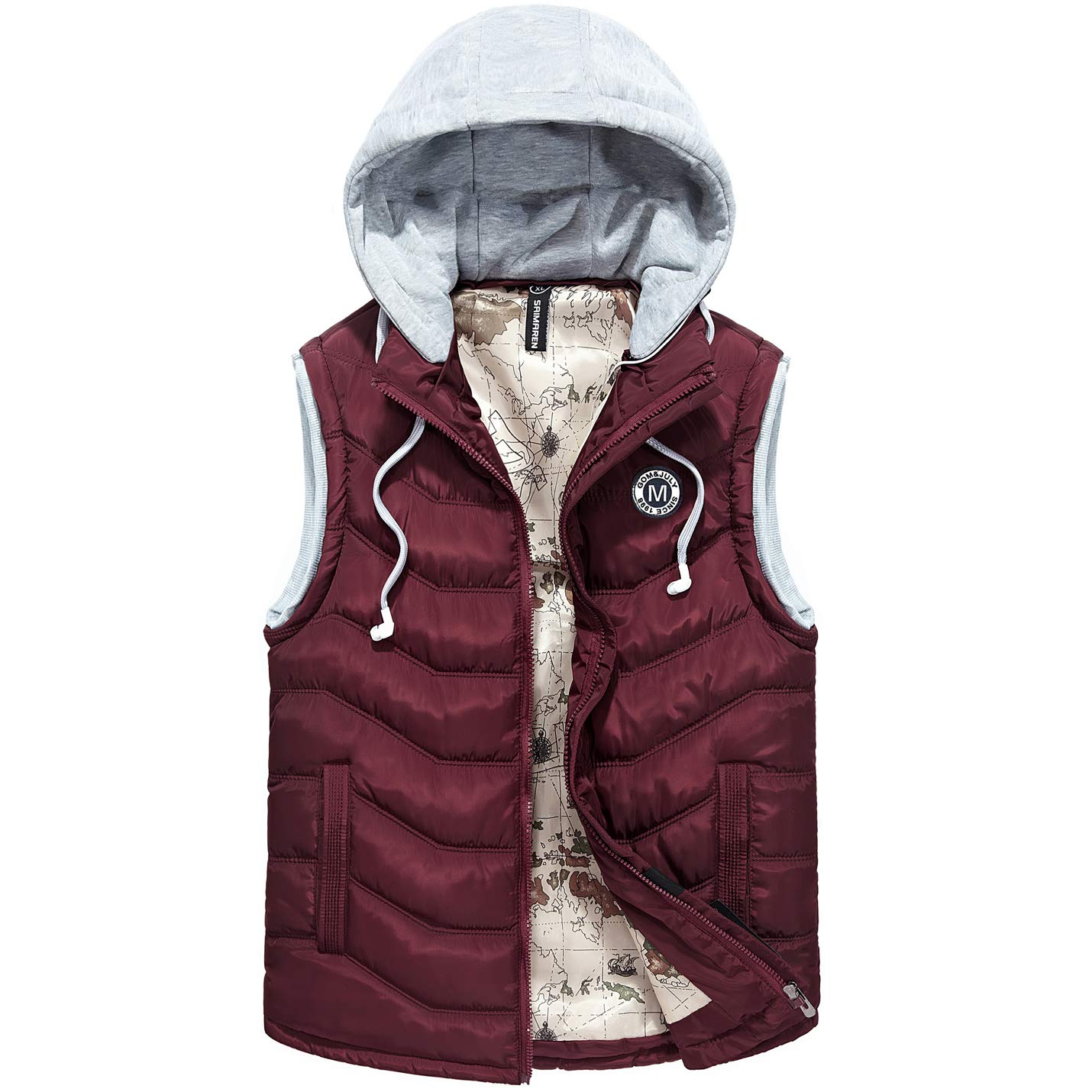 Flygo Mens Lightweight Outdoor Removable Hooded Quilted Padding Puffer Vest