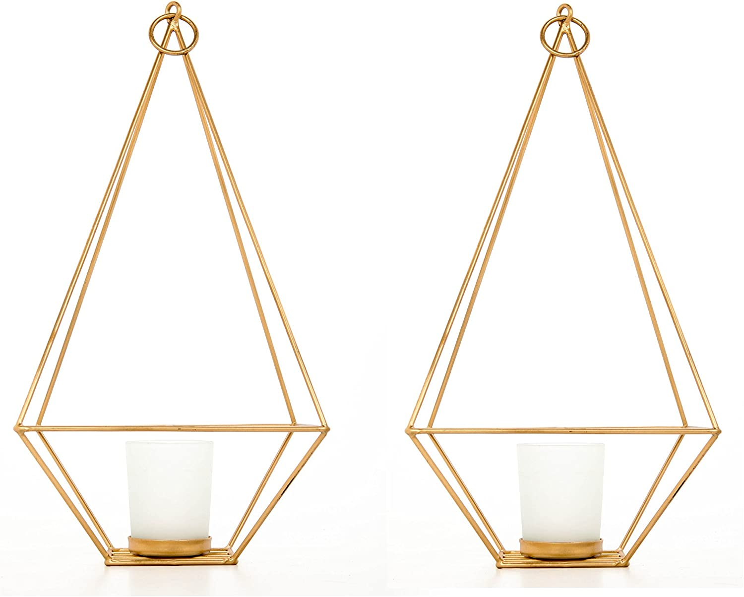 """Hosley Set of 2 Gold Finish Tealight/Votive Holder Lantern with Votive Frosted Candle Holder- 11.5"""" High. Ideal Gift for Weddings, Special Events, Parties LED Candle Gardens, Spa, Aromatherapy O4"""