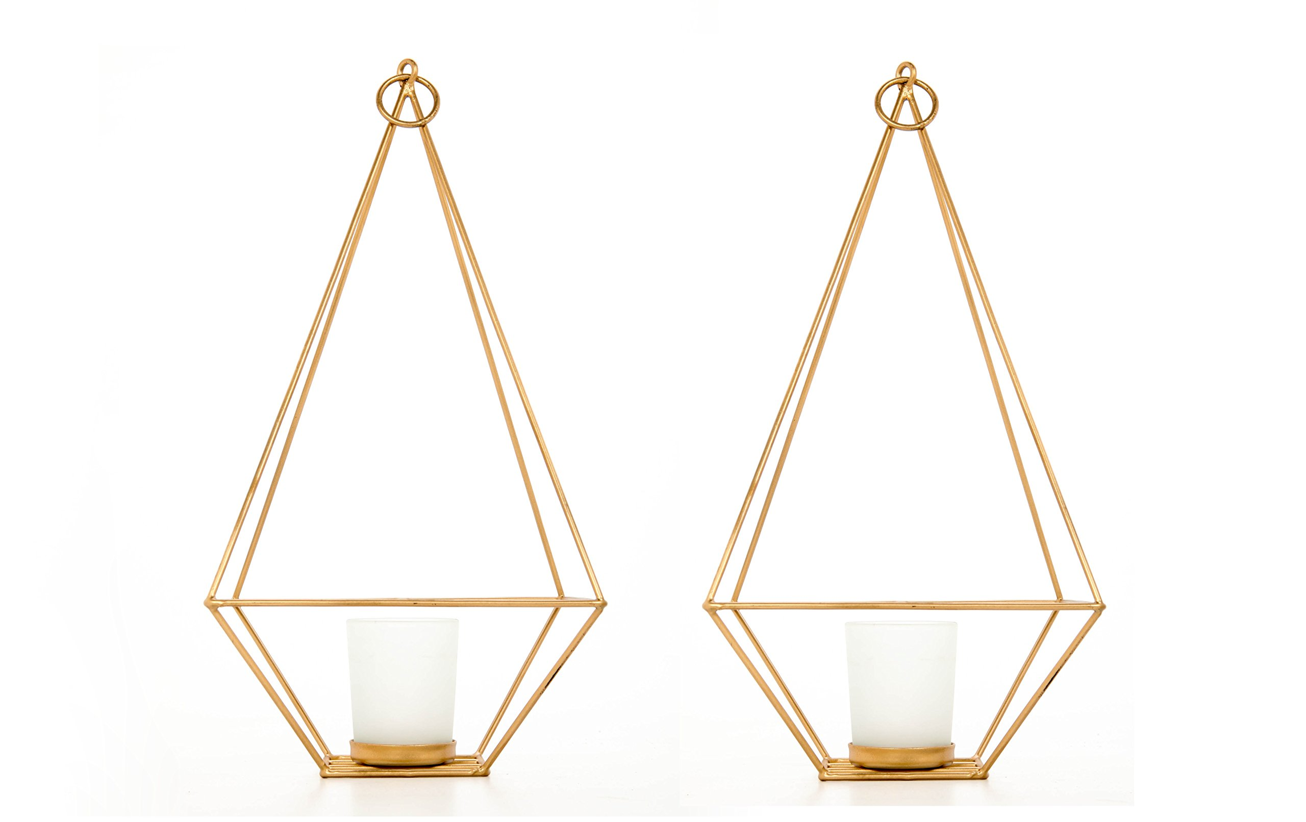 Hosley Set of 2 Gold Finish Tealight/Votive Holder Lantern with Votive Frosted Candle Holder- 11.5'' High. Ideal Gift for Weddings, Special Events, Parties LED Candle Gardens, Spa, Aromatherapy O4
