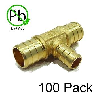 """Brass Crimp Fittings LEAD-FREE 3//4/"""" PEX Tees 100"""