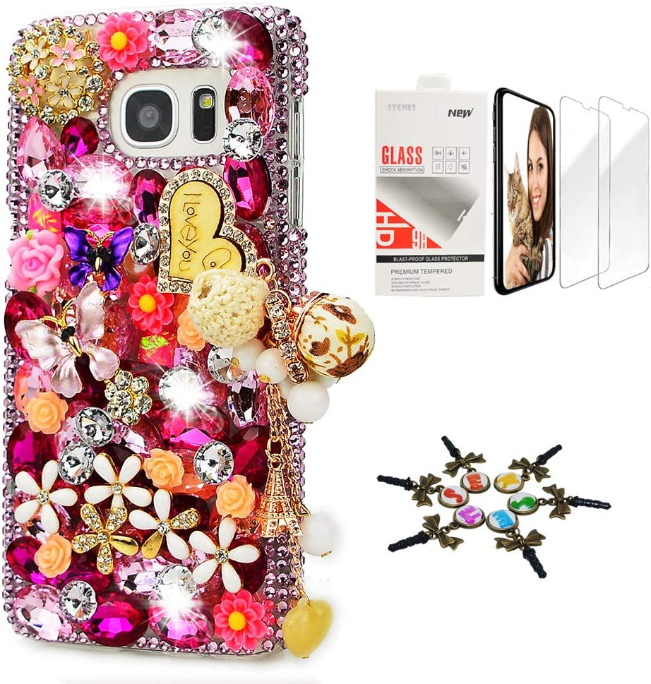 STENES Sparkle Case Compatible with Samsung Galaxy J2 Prime - Stylish - 3D Handmade Bling Heart Pendant Dance Butterfly Flower Design Cover Case with Screen Protector [2 Pack] - Pink