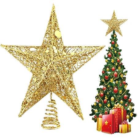Estrella Adorno de árbol de Navidad Oro 15/20/25/30 cm de Alto ...