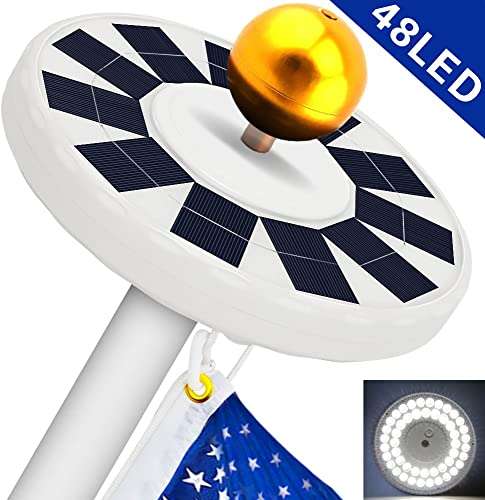 Solar Flag Pole Light, Flagpole Solar Light 800Lux- Hallomall 48LED Downlight Lighting for 15 to 25 Ft Flag Pole Topper, 3 Modes, Auto On Off Night Light Upgraded Version