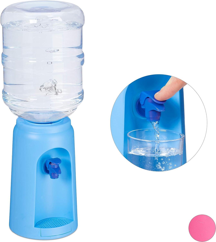 Relaxdays Dispensador de Agua con Tanque y Grifo, Accesorio de Oficina, 4,5L, Plástico, 47,5 x 17 cm, 1 Ud, Azul