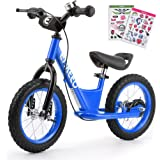 ENKEEO Bicicleta sin Pedales, Bicicleta de Equilibrio, Entrenamiento Transicional en Bicicleta para lo Niños, Asiento Ajustable y Manillares Tapizados