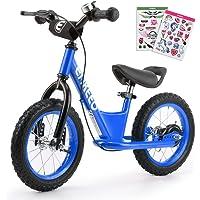 ENKEEO 14'' Prima Bici Senza Pedale per Bambini Bicicletta con Freno Altezza Meno di 1.3m, Telaio in Acciaio al Carbonio, Sella e Manubrio Regolabile, 1 Campana capacità Fino a 50kg,