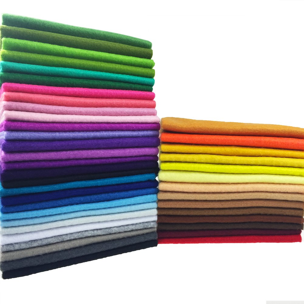 flic-flac 42pcs1.4mm Thick Soft Felt Fabric Sheet Assorted Color Felt Pack DIY Craft Sewing Squares Nonwoven Patchwork (20cm 30cm) by flic-flac (Image #1)