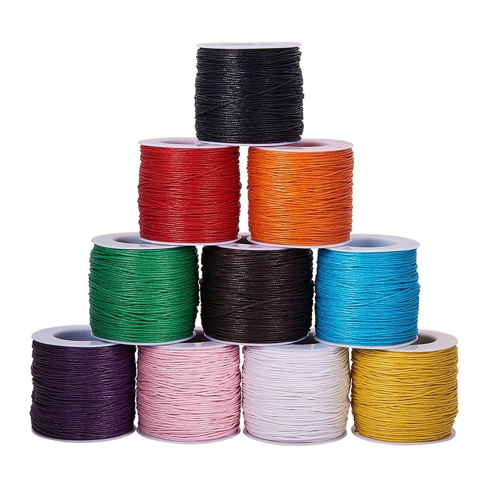 PandaHall Elite 10 Rolls 1mm Waxed Cotton Cord Thread Beading String 80 Yards per Roll Spool 10 Colors for Jewelry Making and Macrame Supplies PH PandaHall 4336855986