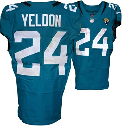 cheap for discount 53870 534e9 T.J. Yeldon Jacksonville Jaguars Game-Used #24 Teal Jersey ...