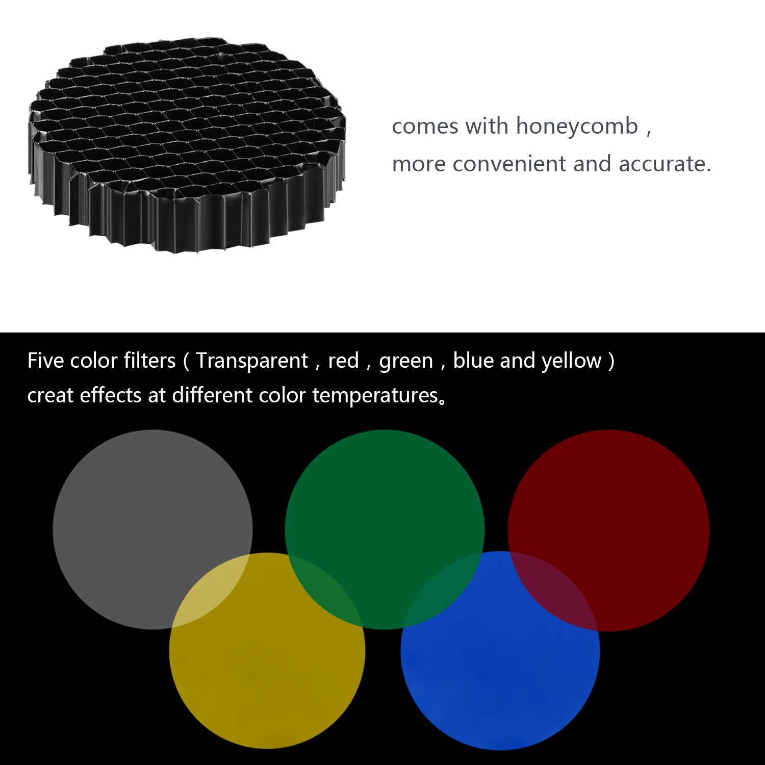 Neewer Aluminium Alloy Conical Snoot Kit with Honeycomb Grid and 5 Pieces Color Gel Filters for Canon Nikon TT560 NW561 NW562 NW565 NW620 NW630 NW680 NW670 750II NW910 NW880 Flash Speedlites by Neewer (Image #5)
