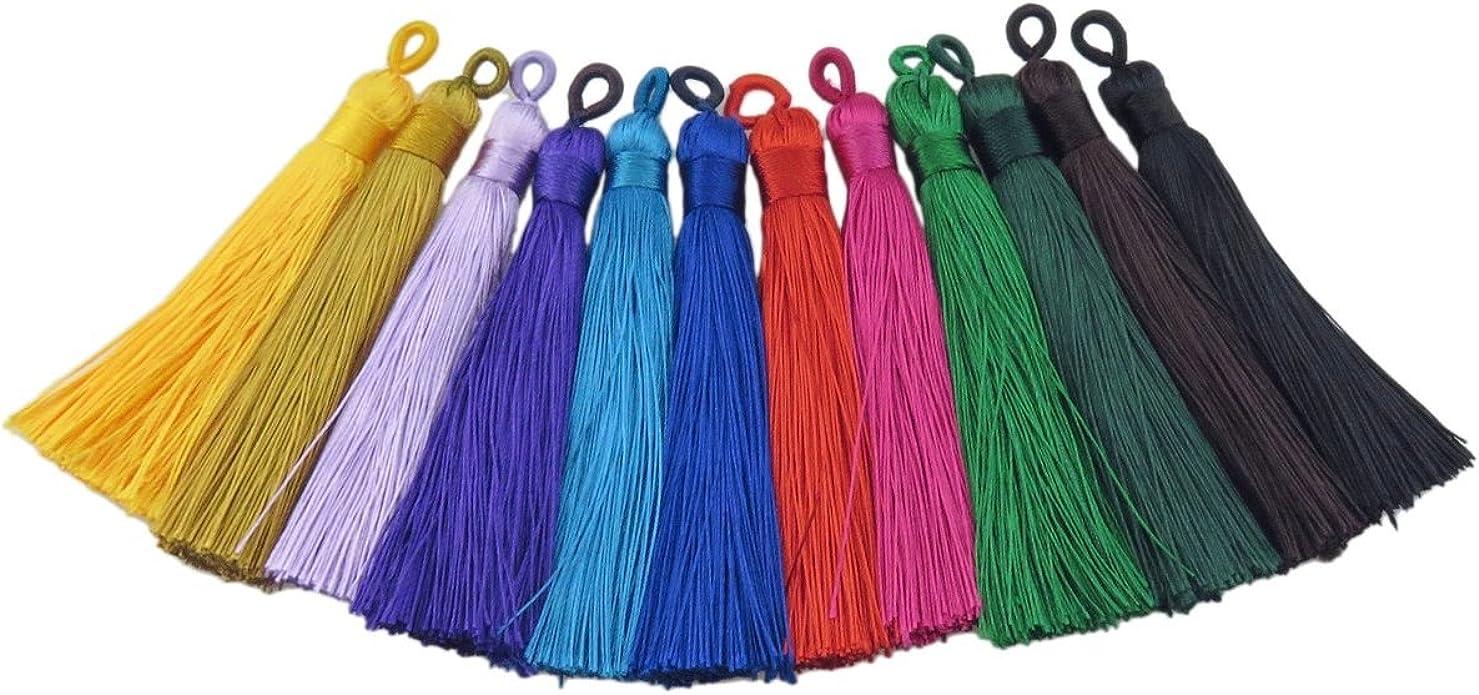 10pcs 12cm Silk Tassels Silky Jewelry Tassels,Handmade Tassel for Jewelry Making Silk Fringes Tassel Earrings Tassel Necklace