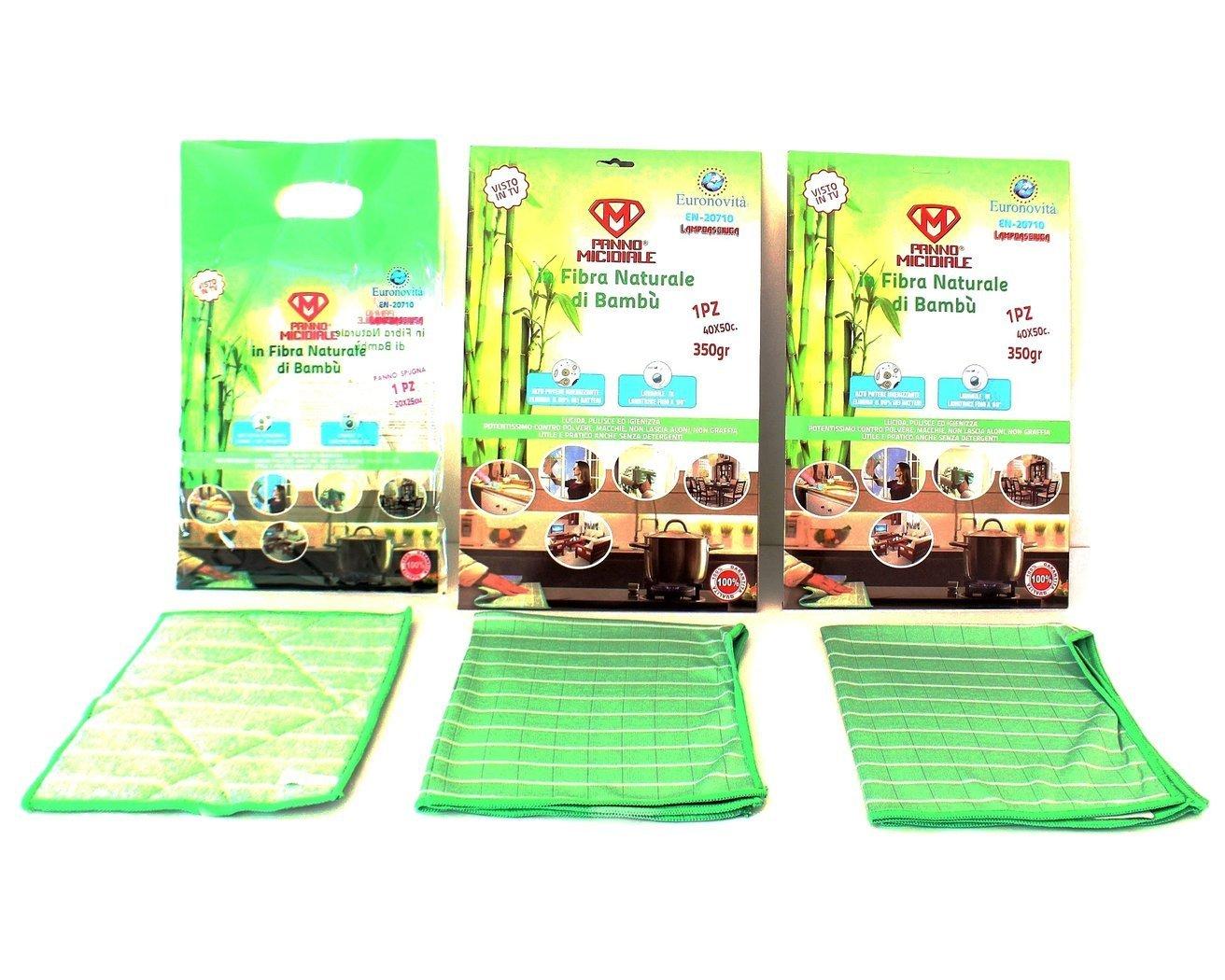 Panno Micidiale in fibra di Bambù 2pz da 350gr + Panno Spugna per sgrassare 20x25-ottimi per la pulizia della casa, mobili, vetri, cucina, bagno 3 pezzi