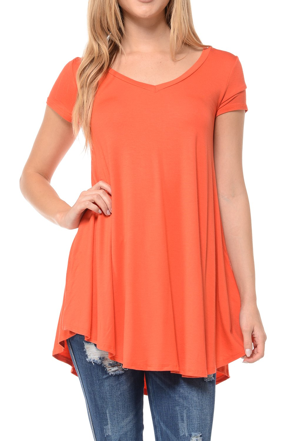 Shamaim Womens Short Sleeve Flattering Comfy Tunic Loose Fit Flowy Top Coral 3X-Large