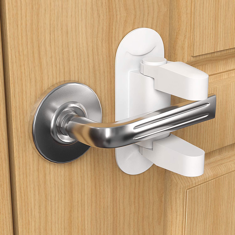 Door Lever Lock, 2-Pack Baby & Child Proof Door Window Cabinet Handles Safety Locks - No Drill Needed - 3M Stick Adhesive - Heavy Duty Toddlers Locks for Door (White)