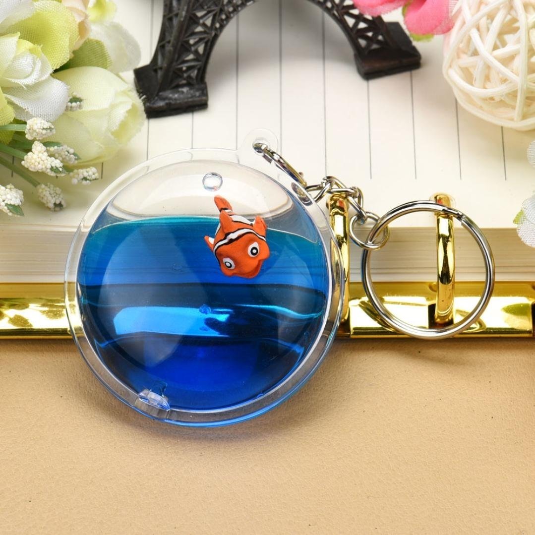 Fish in Moving Liquid Keychain, SUPPION Mini Filled Bottle Round Keychain (Fish) by Suppion (Image #3)