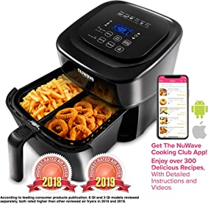 NUWAVE BRIO 6-Quart Digital Air Fryer includes basket divider, one-touch digital controls, 6 easy presets, wattage control, and advanced functions like SEAR, PREHEAT, DELAY, WARM and more