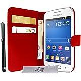 Etui Housse Luxe Rouge Stand et Portefeuille pour Samsung Galaxy Trend Lite S7390 + STYLET et 3 FILM OFFERT !