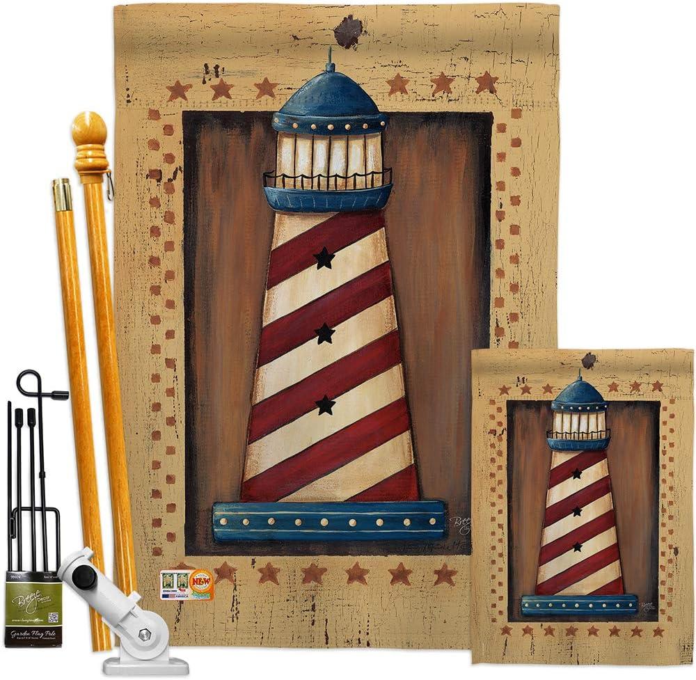 Breeze Decor FK107056-BO Patriotic Lighthouse Coastal Nautical Decorative Vertical Flags Kit, House & Garden Set w/Flagpole, Multi-Color