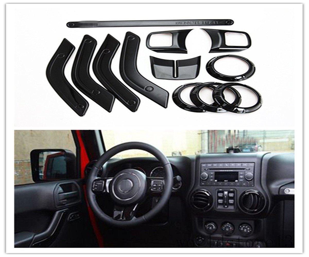 FMtoppeak 12 Pcs/Kits Black ABS Auto Interior Parts Decoration Car Inner Dashboard Trim Cover for Jeep Wrangler 4 Door 2011-2016 766111850216