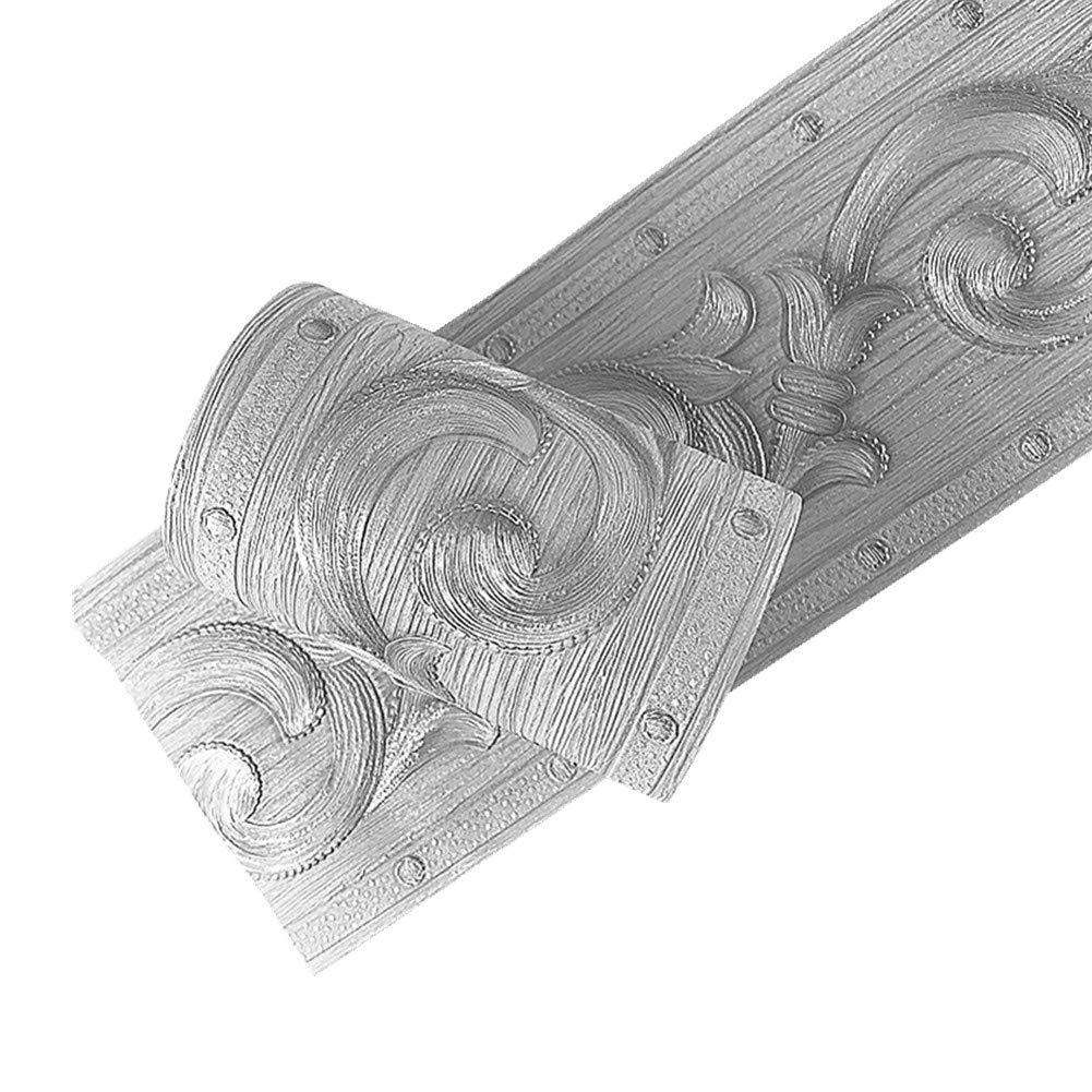 Yija PVC Self Adhesive Silver 3D Flowers Waterproof Wall Border Decor Removable Kitchen Bathroom Tiles Stciker 4 x196.8 inch