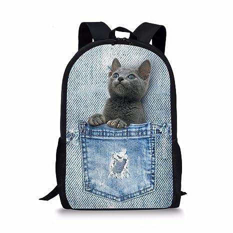 3af78768684 Amazon.com   HUGS IDEA Fun Cat Backpack for Kids Travel Shoulder Bag  Student Book Bag Schoolbag Back to School   Kids  Backpacks