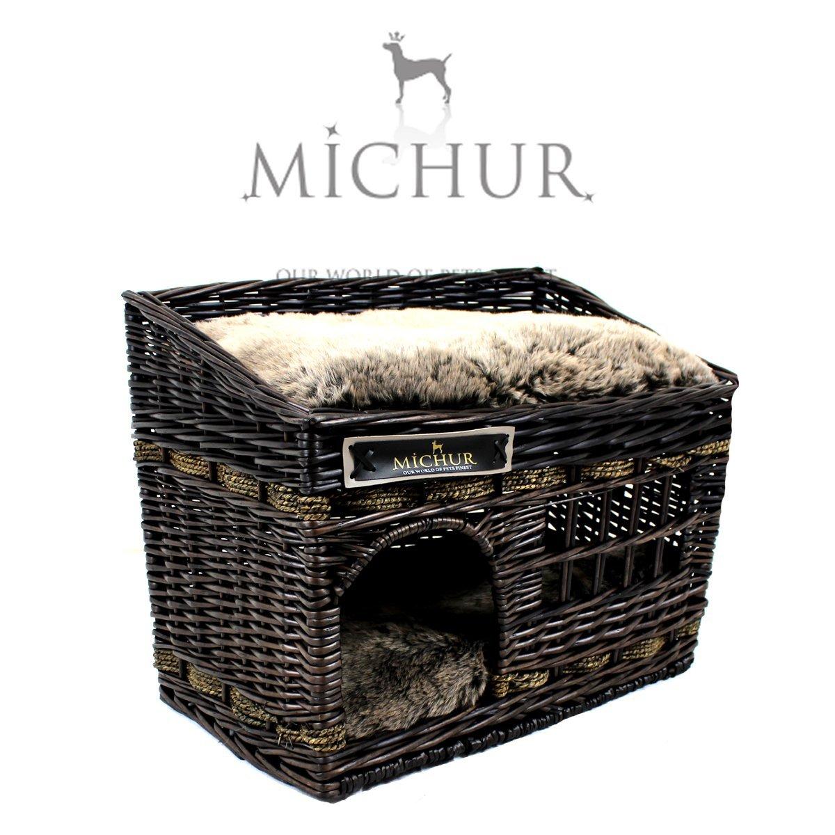 MICHUR JERRY , Cama del perro, cama del gato, cesta del gato, cesta del perro, sauce, cueva, mimbre, marrón