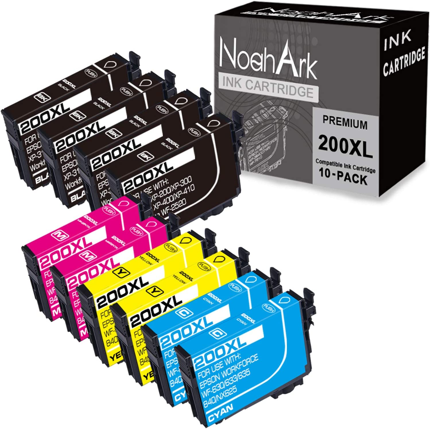 NoahArk Remanufactured Ink Cartridge Replacement for Epson 200 XL 200XL T200XL use for Expression Home XP-200 XP-300 XP-310 XP-400 XP-410 Workforce WF-2520 WF-2530 (4 Black 2 Cyan 2 Magenta 2 Yellow)