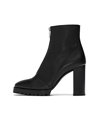 eb7d7d0e988 Amazon.com: Zara Women Leather track sole ankle boots 7140/301: Clothing