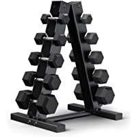 Deals on Epic Fitness 150-Pound Hex Dumbbell Set w/Heavy Duty A-Frame Rack