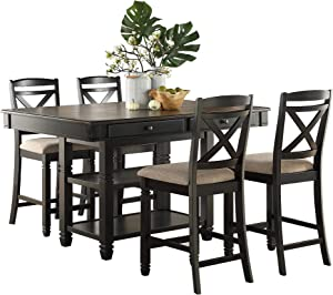Homelegance 5-Piece Counter Height Dining Table Set, Black/Natural
