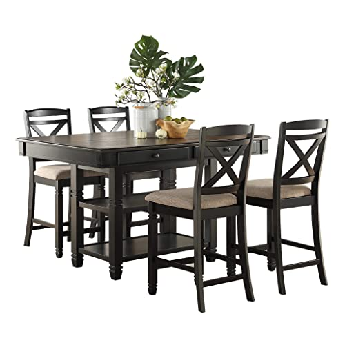 Homelegance 5-Piece Counter Height Dining Table Set, Black Natural